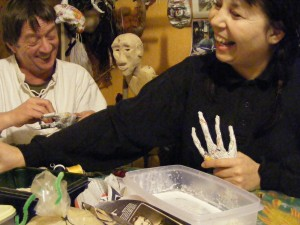 Chris and Karrie making puppets for Sedna show (in production)