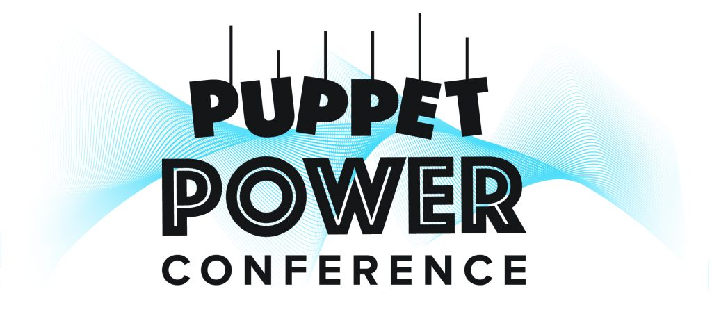 Puppet Power Conference Logo. The word Puppet has each letter on a string with a blue digital spiral-wave background
