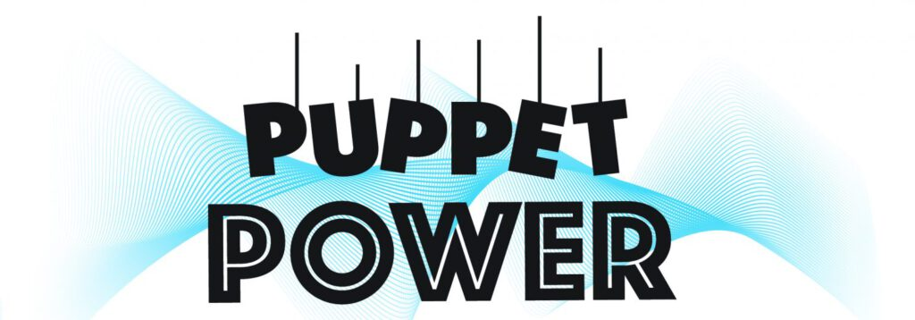 Puppet Power Logo. The word Puppet has each letter on a string with a blue digital spiral-wave background