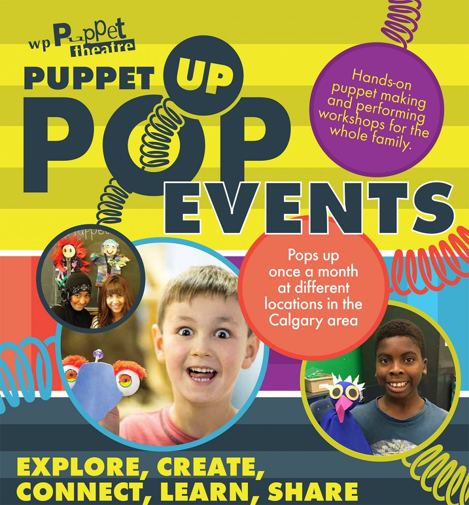 WP Puppet Theatre Puppet Pop Up Events. Kids and puppets, colurful springs, circles and text