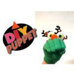 Cute DIY Glove Puppet made from a glove, big eyes, a pom-pom and pipe-cleaners