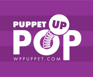 Purple stripe Puppet Pop Up logo for WP Puppet Theatre with spring and wppuppet.com