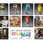 collage of colourful puppet masks and people holding them. Text says WP Puppet Theatre Courage Journey