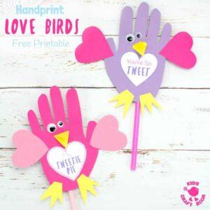 bird valentine puppet kid craft