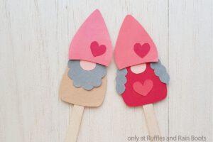 valentines gnome kids craft - stick puppets