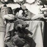 Black & White picture of Blueberry Johnson (bear puppet) & Rod Puppets