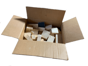 Box of wooden offcuts for puppet making