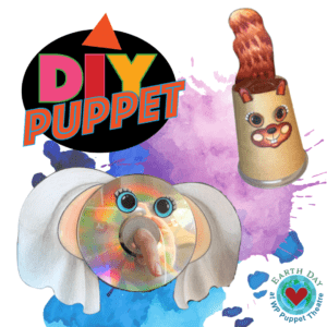 Elephant Puppet made from paper, a CD and a finger. Squirrel cup puppet is paper add ons to the cup. DIY Puppet logo and Earth day logo