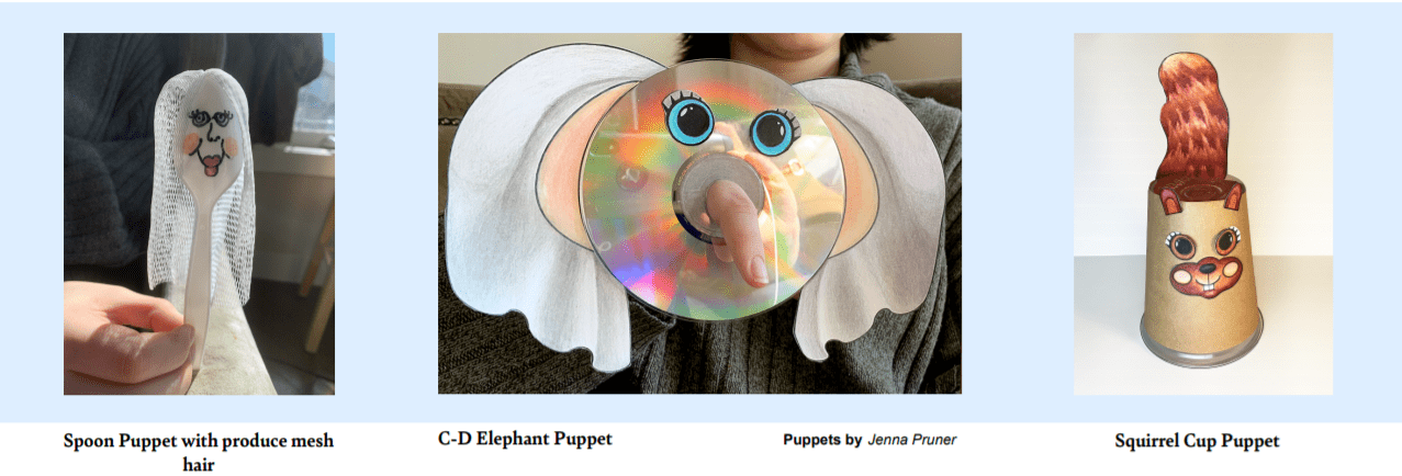 Earth Day Puppets including a spoon with mesh hair, a CD elephant and a squirrel cup puppet