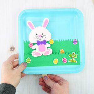 Bunny Easter Plate Craft Puppet