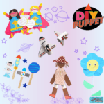 A collection of puppet DIYS including space & mother's day themed puppet crafts